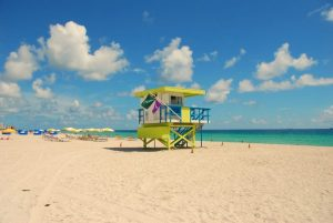 Colorful lifeguard tower in Florida.