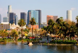 An image of the downtown Los Angeles skyline.