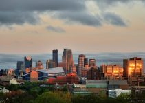 Downtown Minneapolis Skyline with Minnesota Vikings US Bank Stadium and the University of Minnesota.