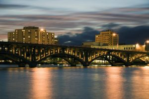 Bridge in Rockford, Illinois, USA.