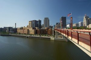 A wide shot of Saint Paul, Minnesota.