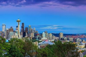 Seattle skyline panorama at sunset as seen from Kerry Park, Seattle, WA.