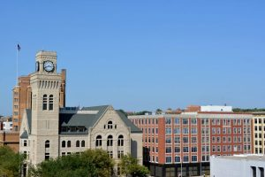 A wide shot of buildings in Sioux City, Iowa.