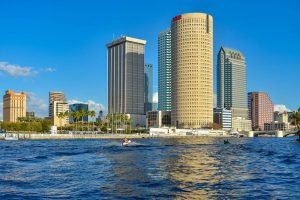 Tampa Museum of Art and skyscrapers over the Hillsborough river coast in downtown area.
