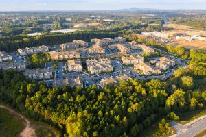Aerial view of suburban communities in downtown Alpharetta Georgia.