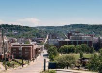 View of the downtown area of Morgantown WV and campus of West Virginia University.