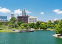 City skyline of Omaha Nebraska from the Heartland of America Par.k