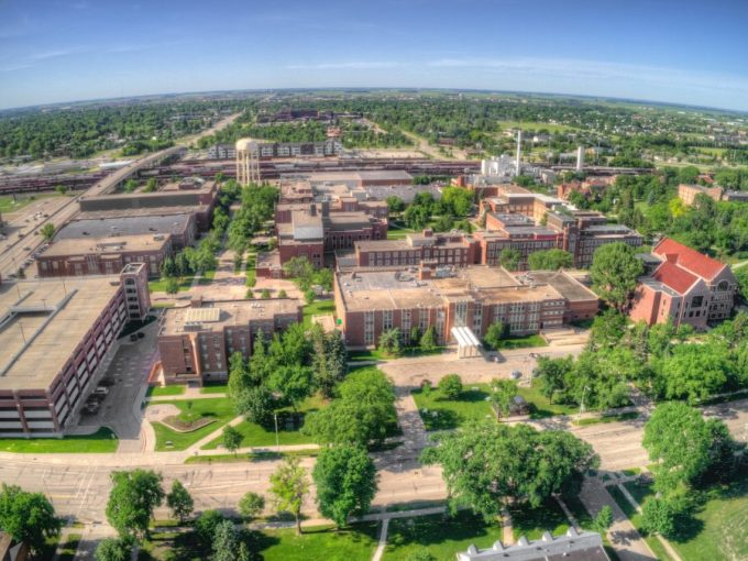 Aerial Drone View of the University of North Dakota in Grand Forks during the Summer.