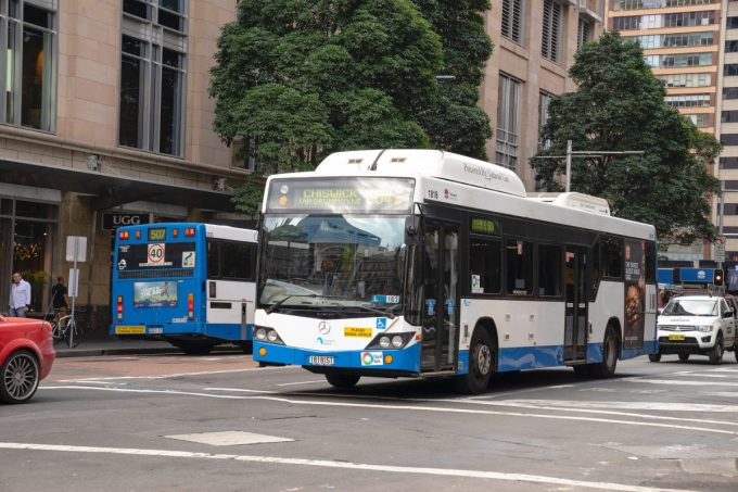A bus on a busy street.