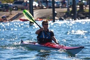 Ken Mann competes in the kayak leg of the 2014 Bellingham Traverse. Photo credit: Tim Chandonnet.