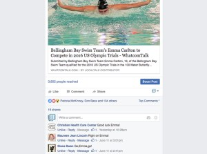 After sharing this press release from the Bellingham Bay Swim Team, our readers rallied around Emma Carlton, cheering her on as she heads to the 2016 US Olympic Trials. ©WhatcomTalk.