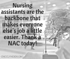 Nursing Assistants play a vital role. Photo courtesy: CHCC.