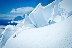 Rogel captured this skier on the glacial face of Mt. Tennant on the Antarctic Peninsula. Photo credit: Rogel Media.