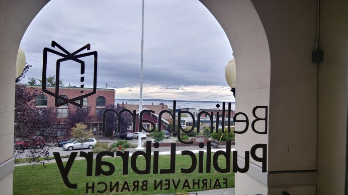 The library's front door overlooks Bellingham Bay. Photo courtesy: Steven Arbuckle.
