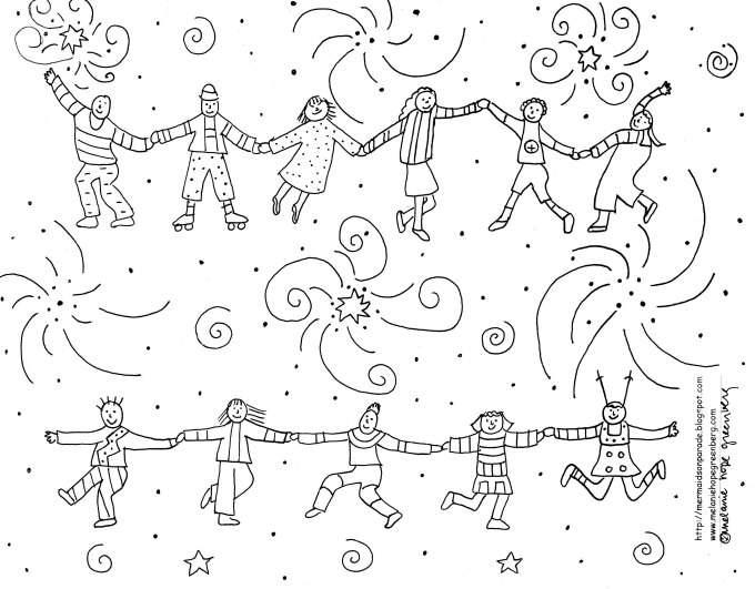 Joyous Children Celebration Coloring Page