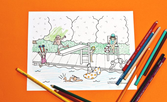 get your summer on  this swimming pool coloring page