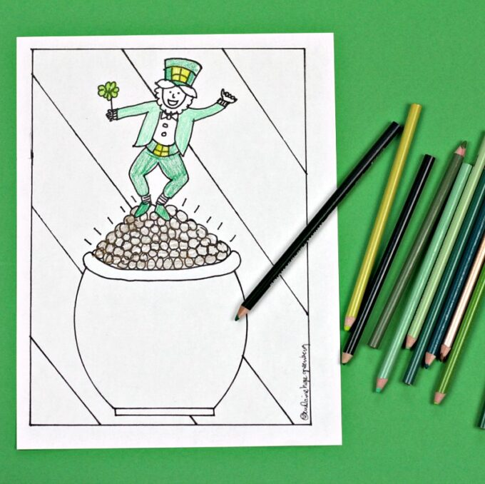 Leprechaun Coloring Page Dancing On A Pot Of Gold