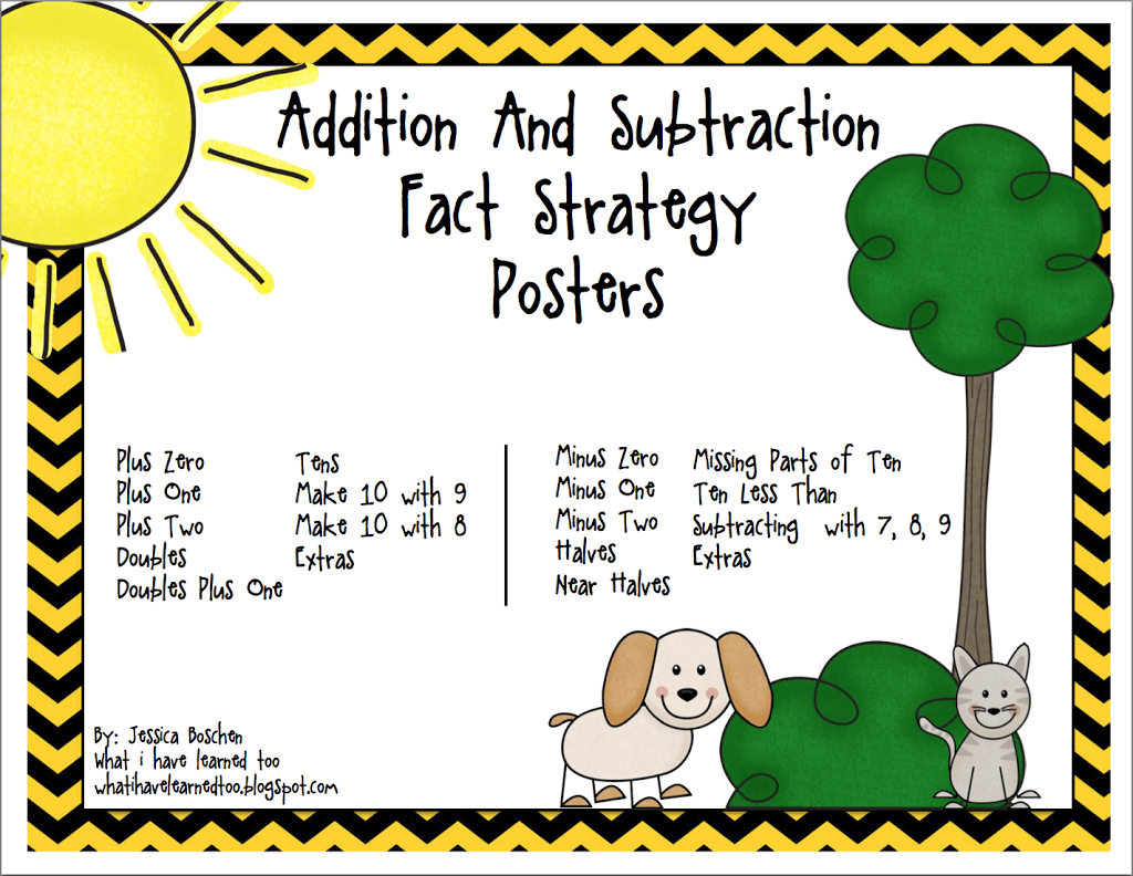 Update To Addition Amp Subtraction Fact Strategy Posters