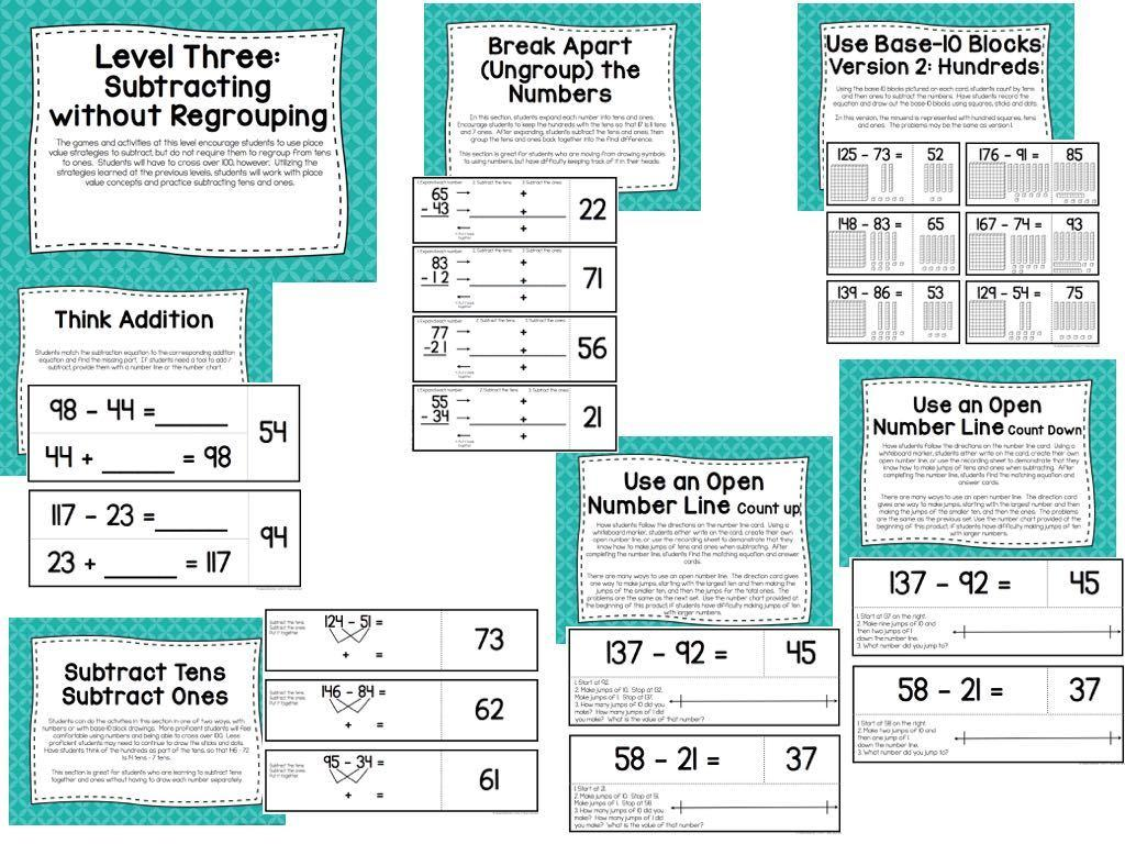Two Digit Subtraction Assessments Task Cards Activities Amp Games What I Have Learned
