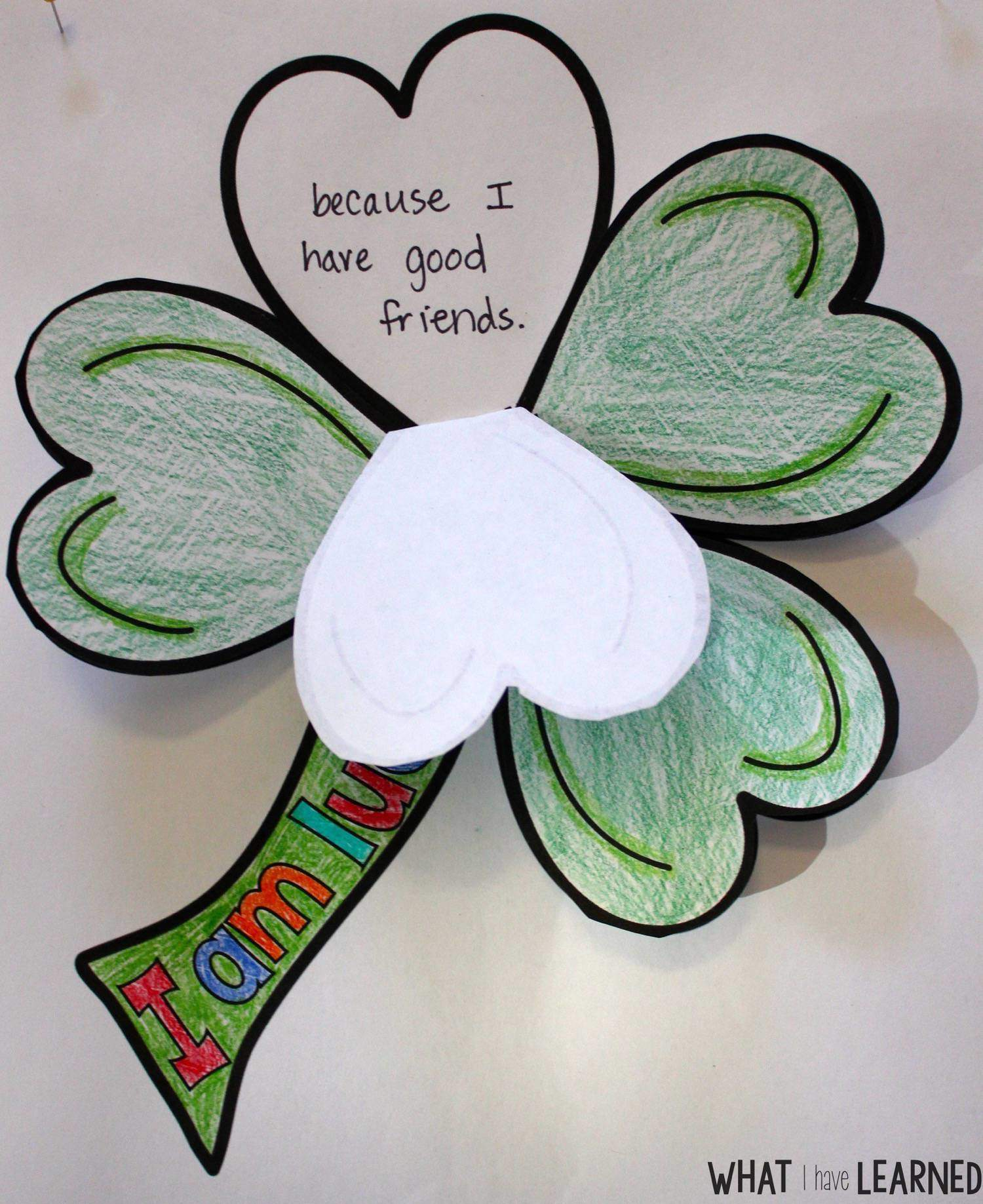 St Patrick S Day Clover I Am Lucky Craftivity What I
