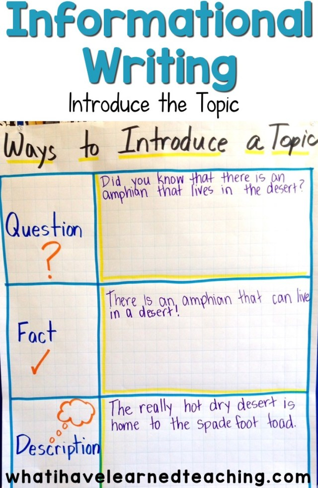 Introduce the Topic - Informational Writing: Week 17 - Spade Foot Toads