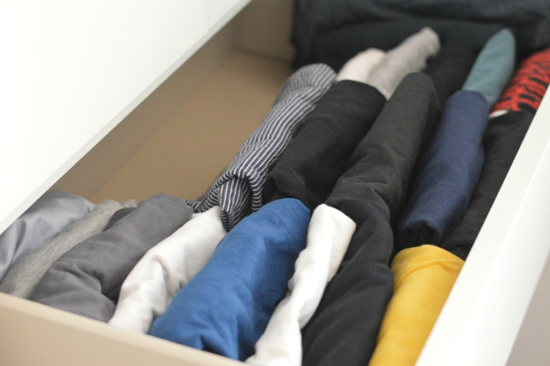 Konmari drawer of t shirts