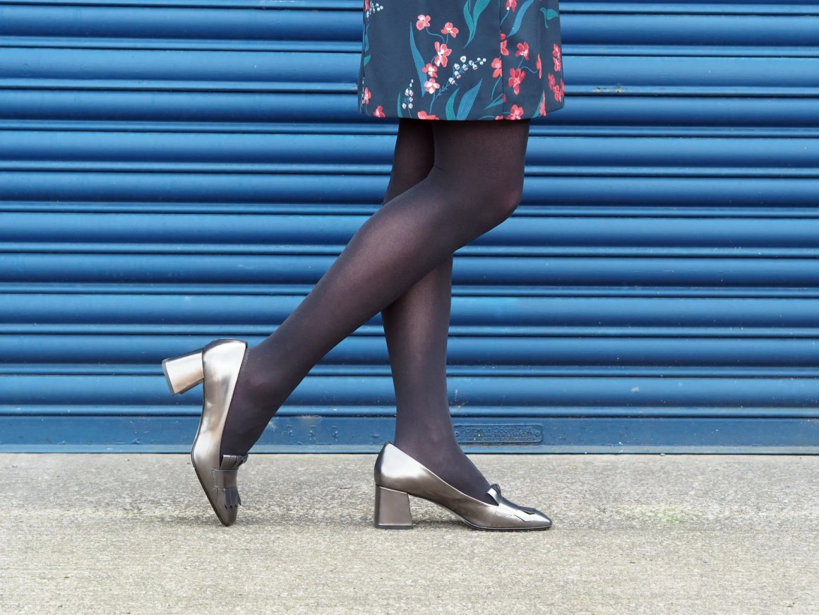 what-lizzy-loves-desk-dinner-dress-hobbs-over-40-collective-metallic-loafers-opaque-tights