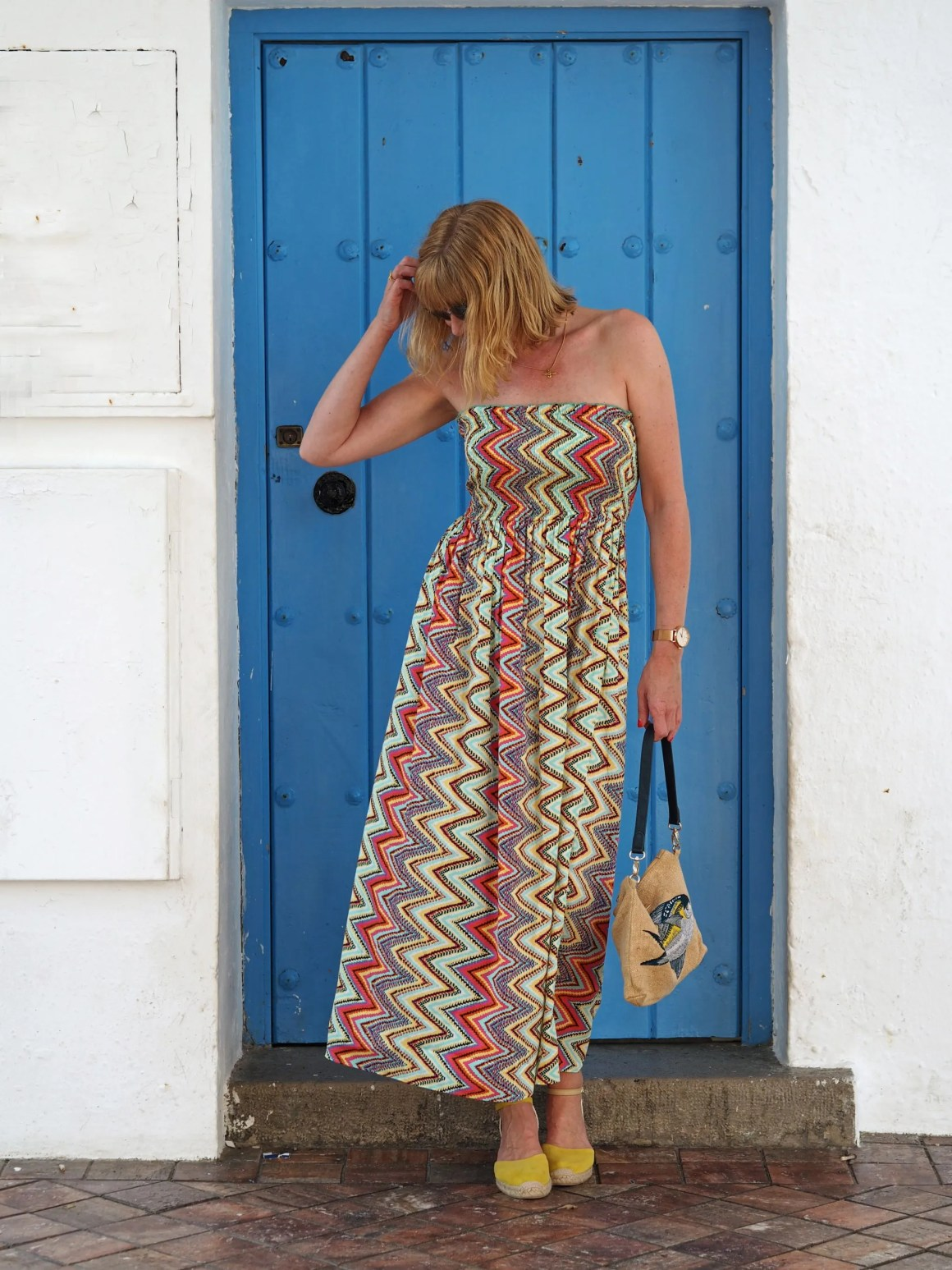 what-lizzy-loves-holiday-outfits-zigzag-maxi-dress-yellow-espadrilles-blue-door-nerja