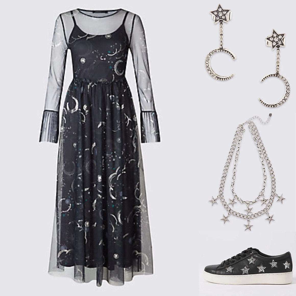 what-lizzy-loves-m&s-navy-stars-constellation-dress-star-jewellery