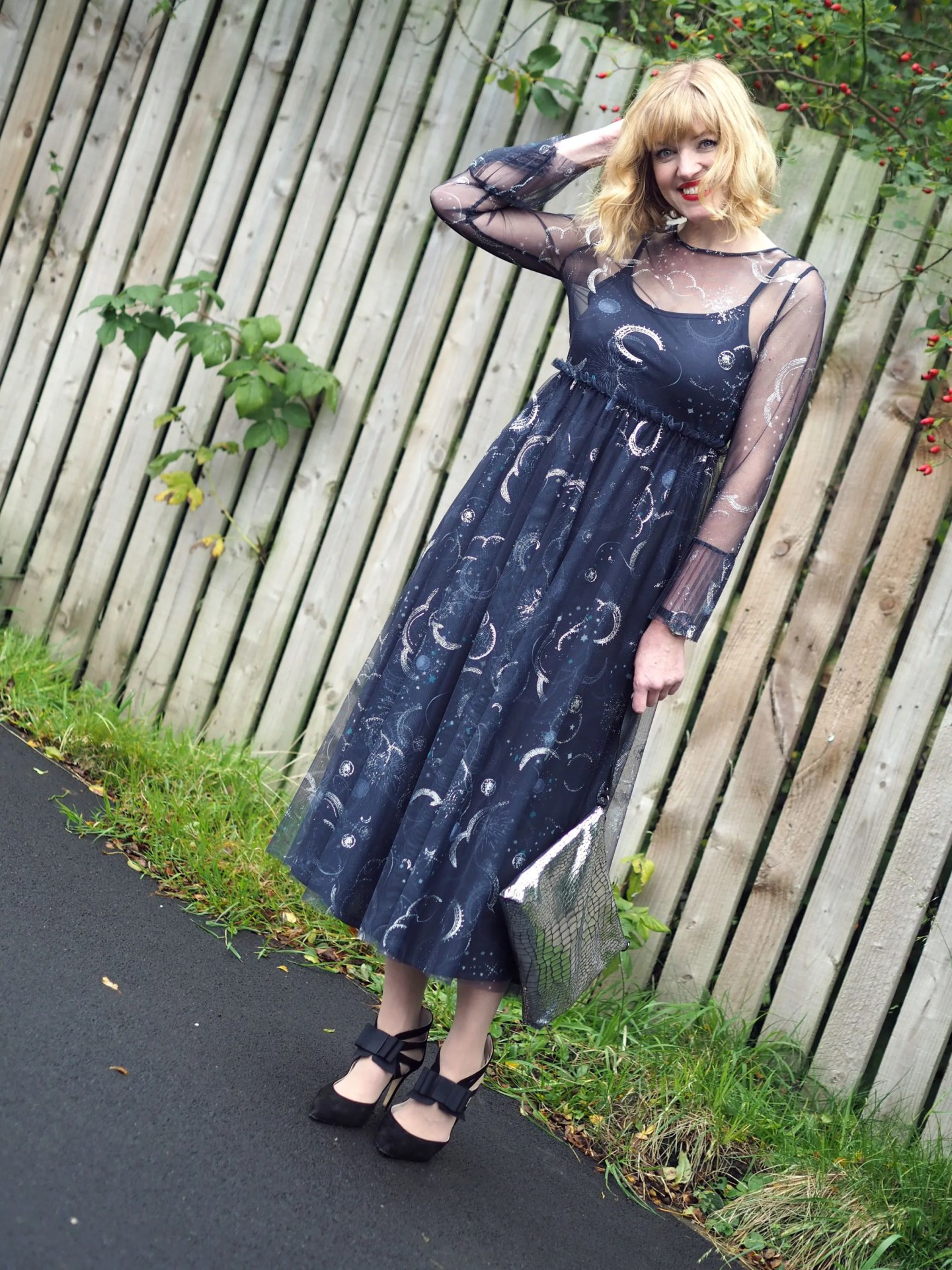 what lizzy lovesmarks and spencer constellation midi dress birthday outfit