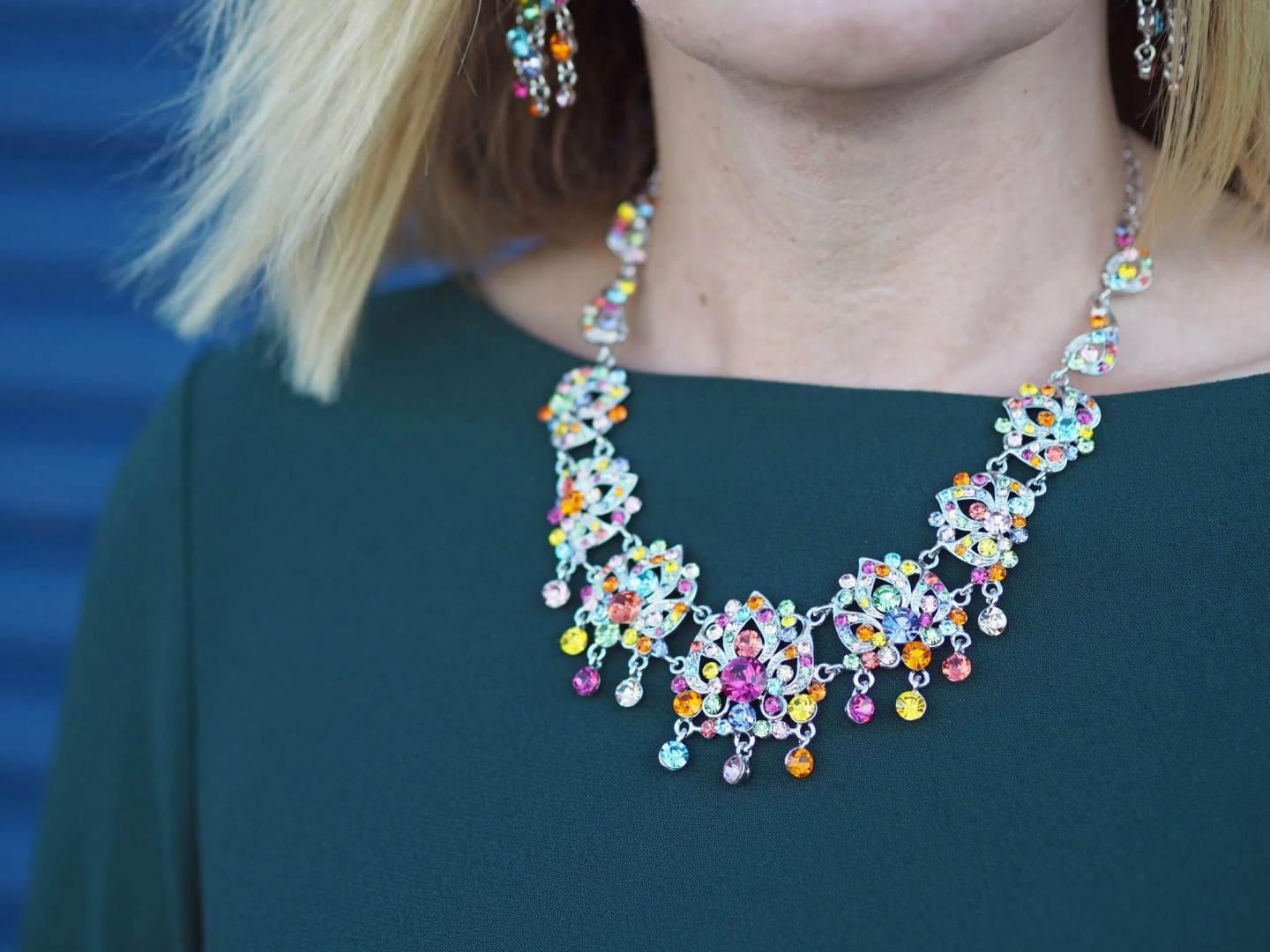 What Lizzy Loves easy party look green dress rainbow Swarovski crystal jewellery necklace earrings