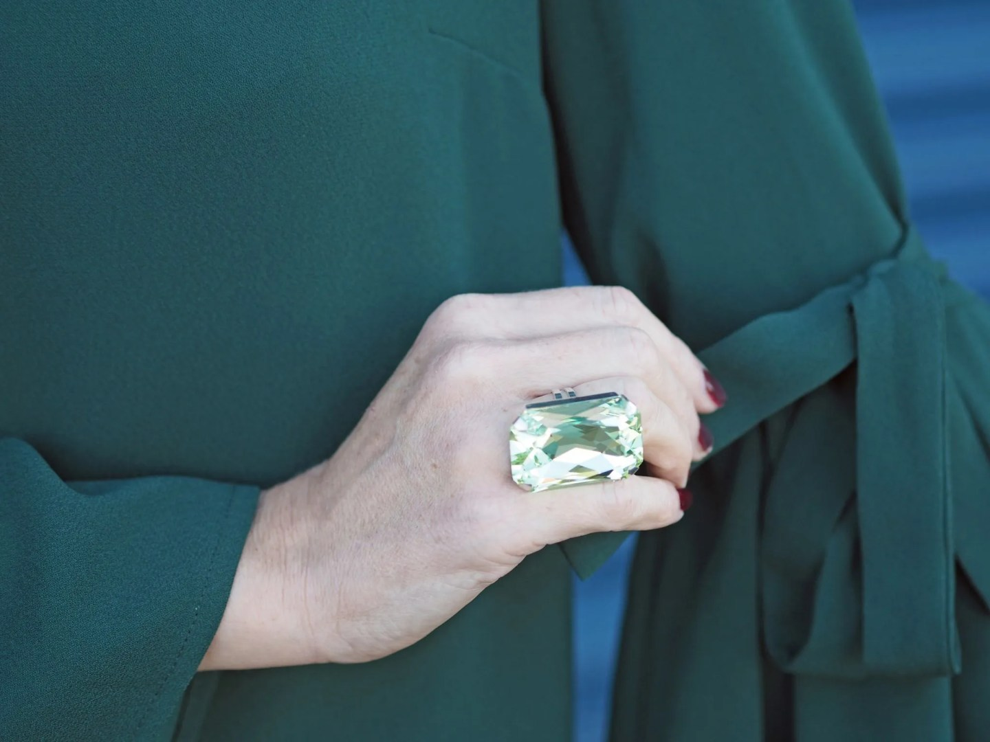 What Lizzy Loves easy party look green dress peridot green gemstone ring