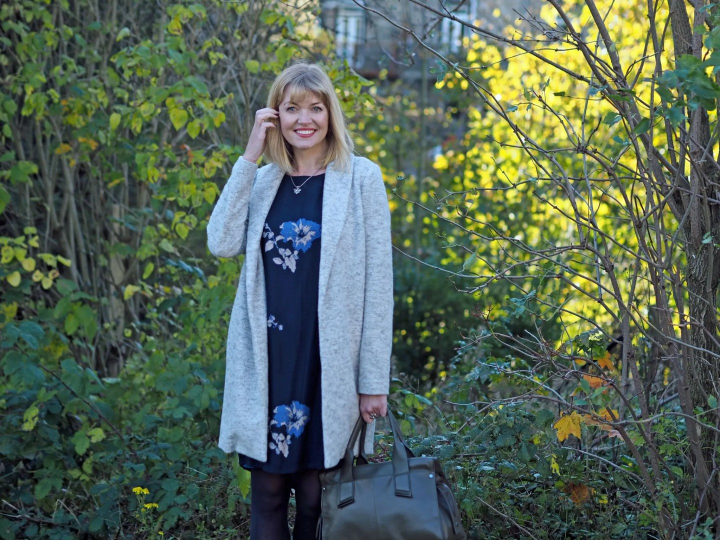 what lizzy loves tulchan floral tunic dress grey coatigan bee jewellery over 40 style