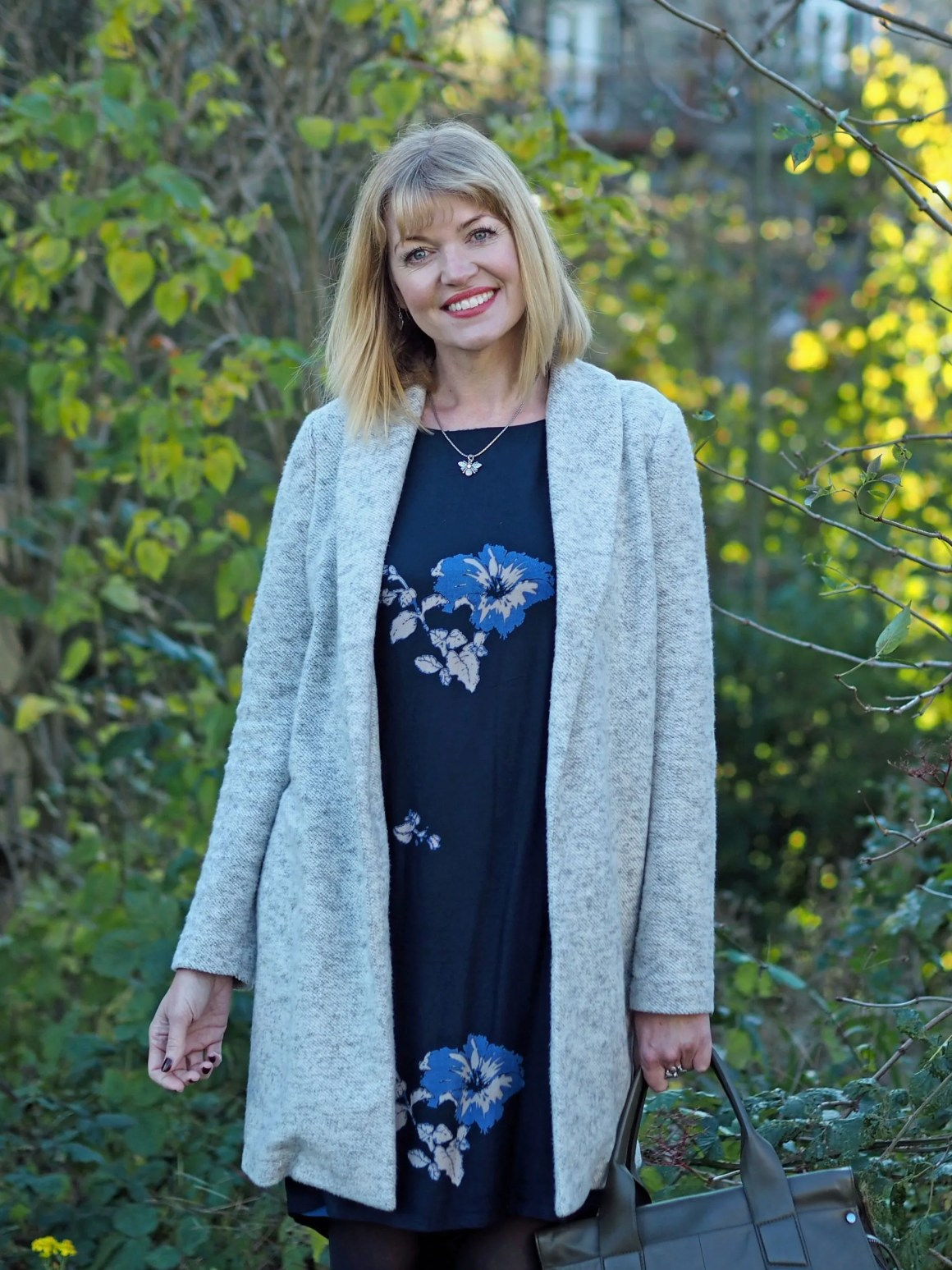 what lizzy loves tulchan floral tunic dress grey coatigan bee jewellery over 40