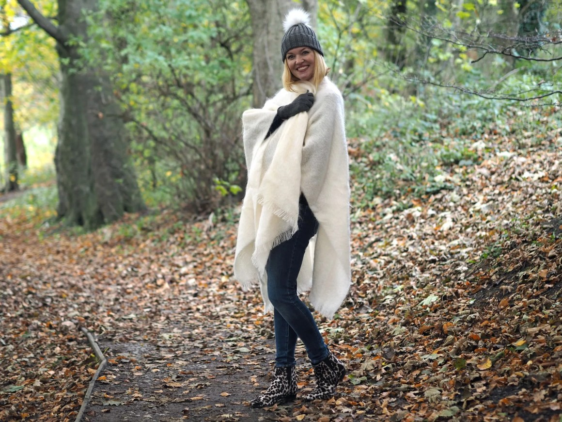What Lizzy Loves mistletoe Christmas jumper cream ecru mohair serape leopard boots over 40