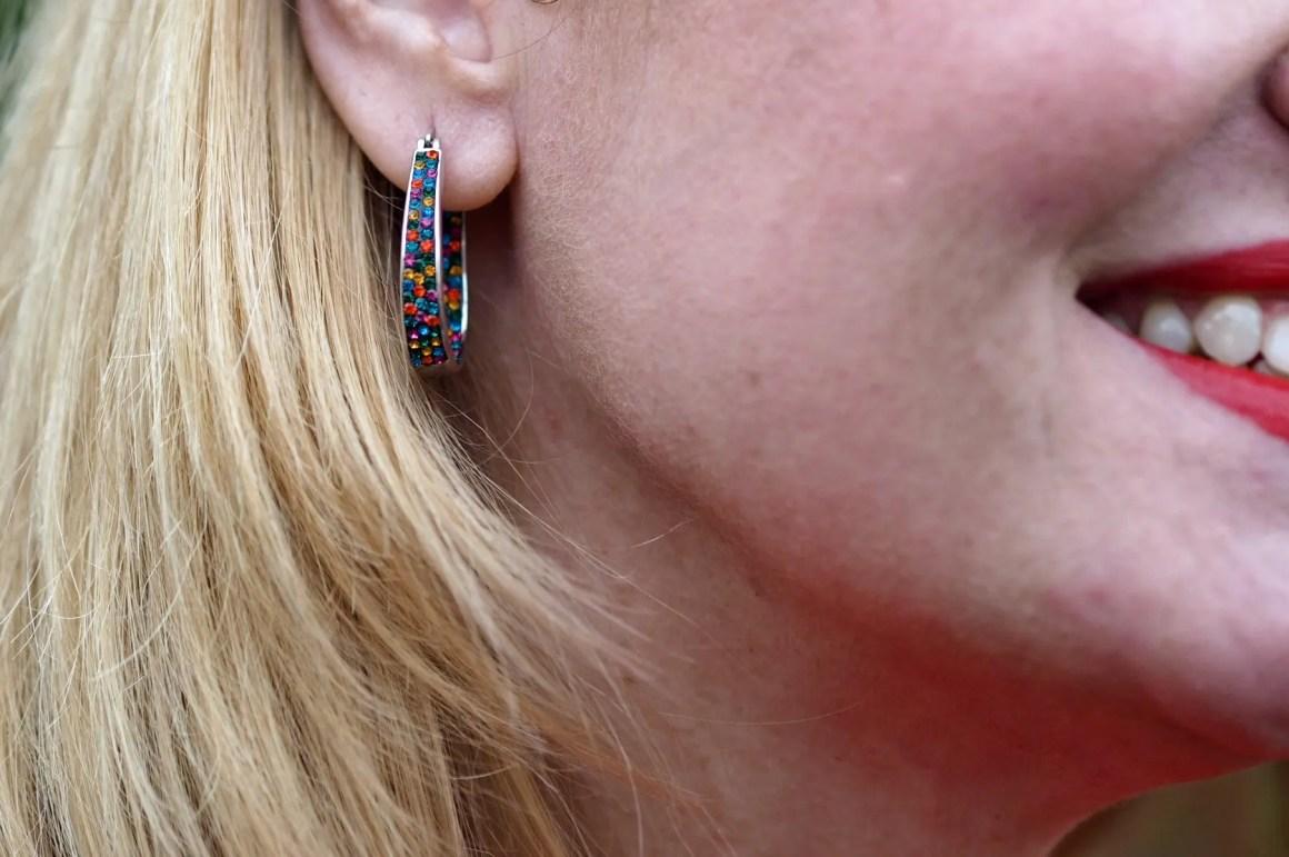what lizzy loves multi coloured diamante hoop earrings