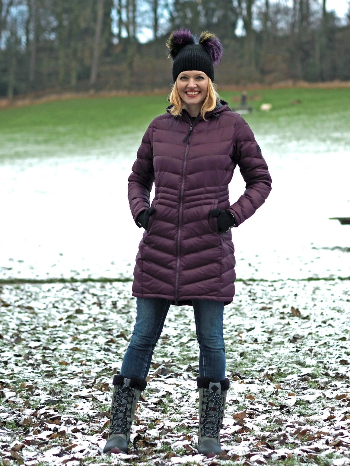 what lizzy loves how to keep warm and look stylish flattering puffer coat winter boots