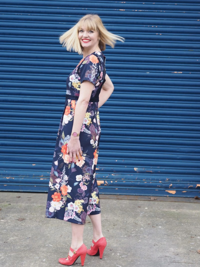 What Lizzy Loves spring trends bold colour floral jumpsuit mulberry shoes