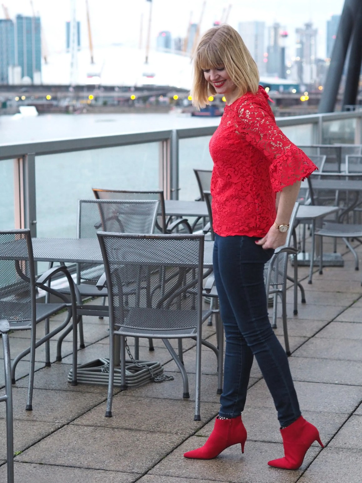what-lizzy-loves-Boden-red-lace-top-jeans-boots-Millenium-Dome