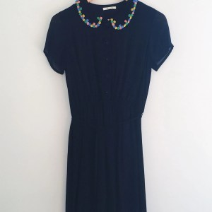 Alium B black beaded collar dress