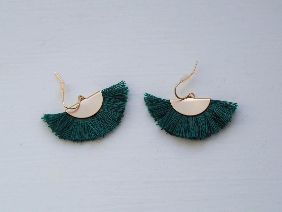 what-lizzy-loves-green-tassel-earrings