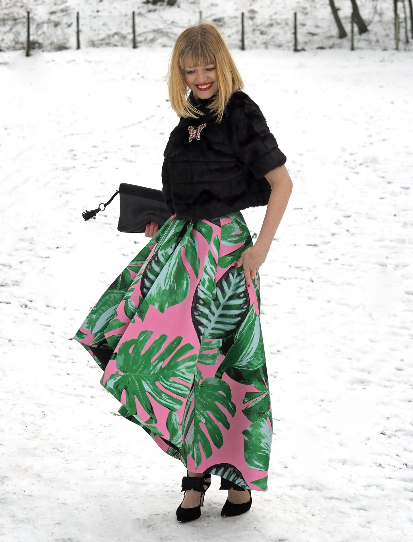 what lizzy loves green and pink party skirt faux fur jacket snow