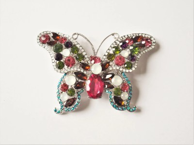 Large multi-coloured butterfly brooch