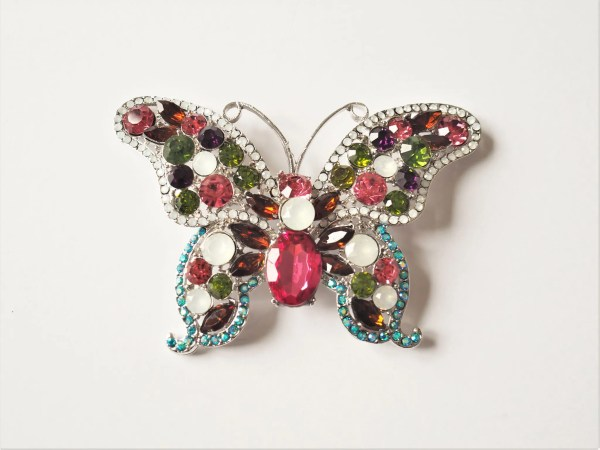 what lizzy loves large multi coloured butterfly brooch