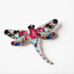 what lizzy loves large multicoloured dragonfly brooch