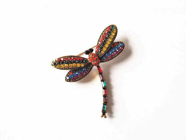what lizzy loves rainbow diamante dragonfly brooch