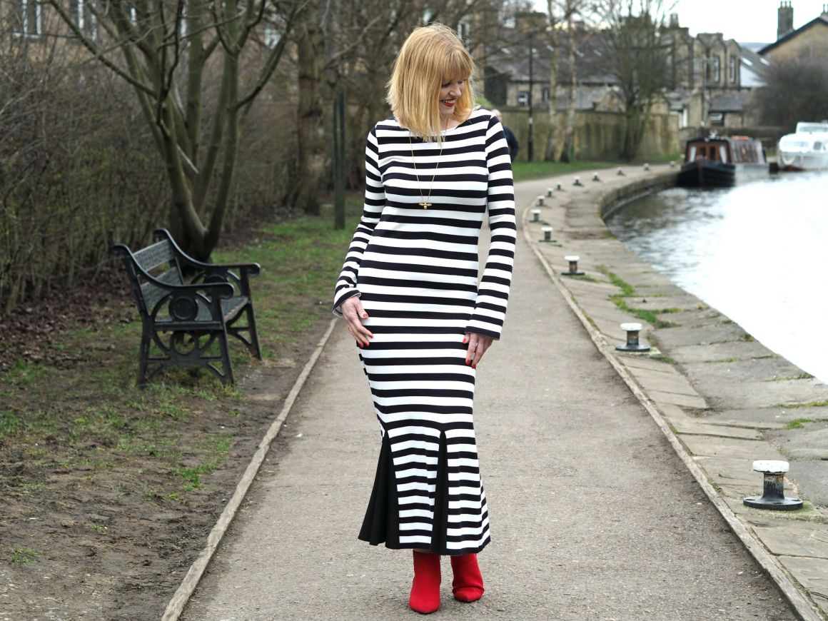 What Lizzy Loves black striped long dress red boots