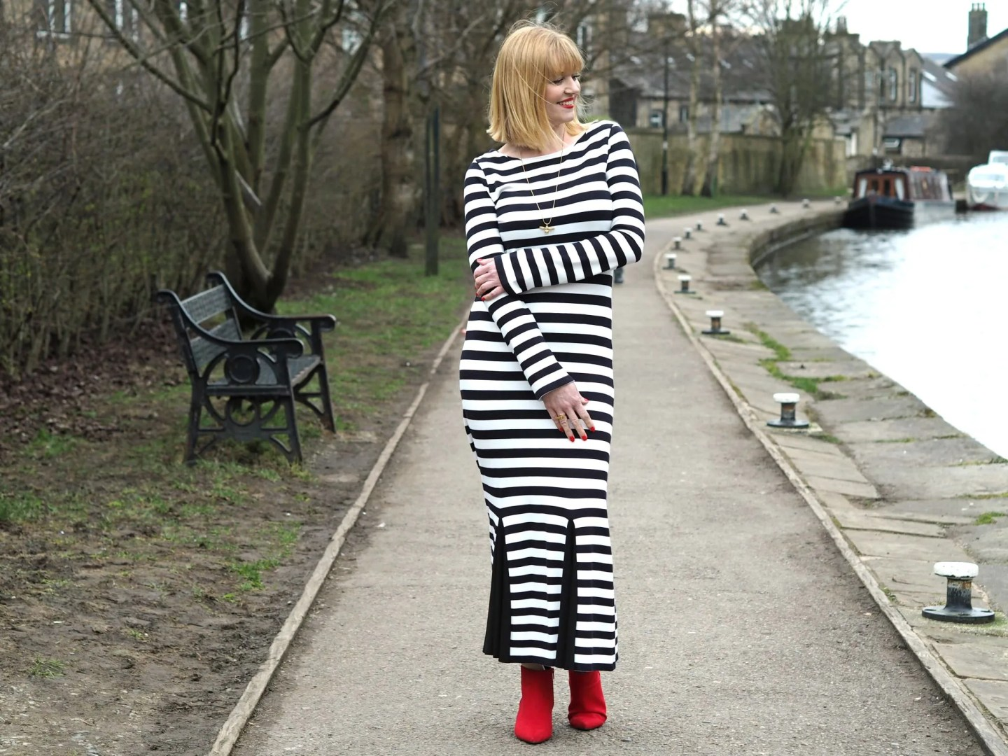 What Lizzy Loves black striped long godet dress red boots
