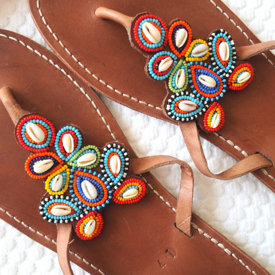what Lizzy Loves Aspiga multi shell beaded sandals holiday wardrobe