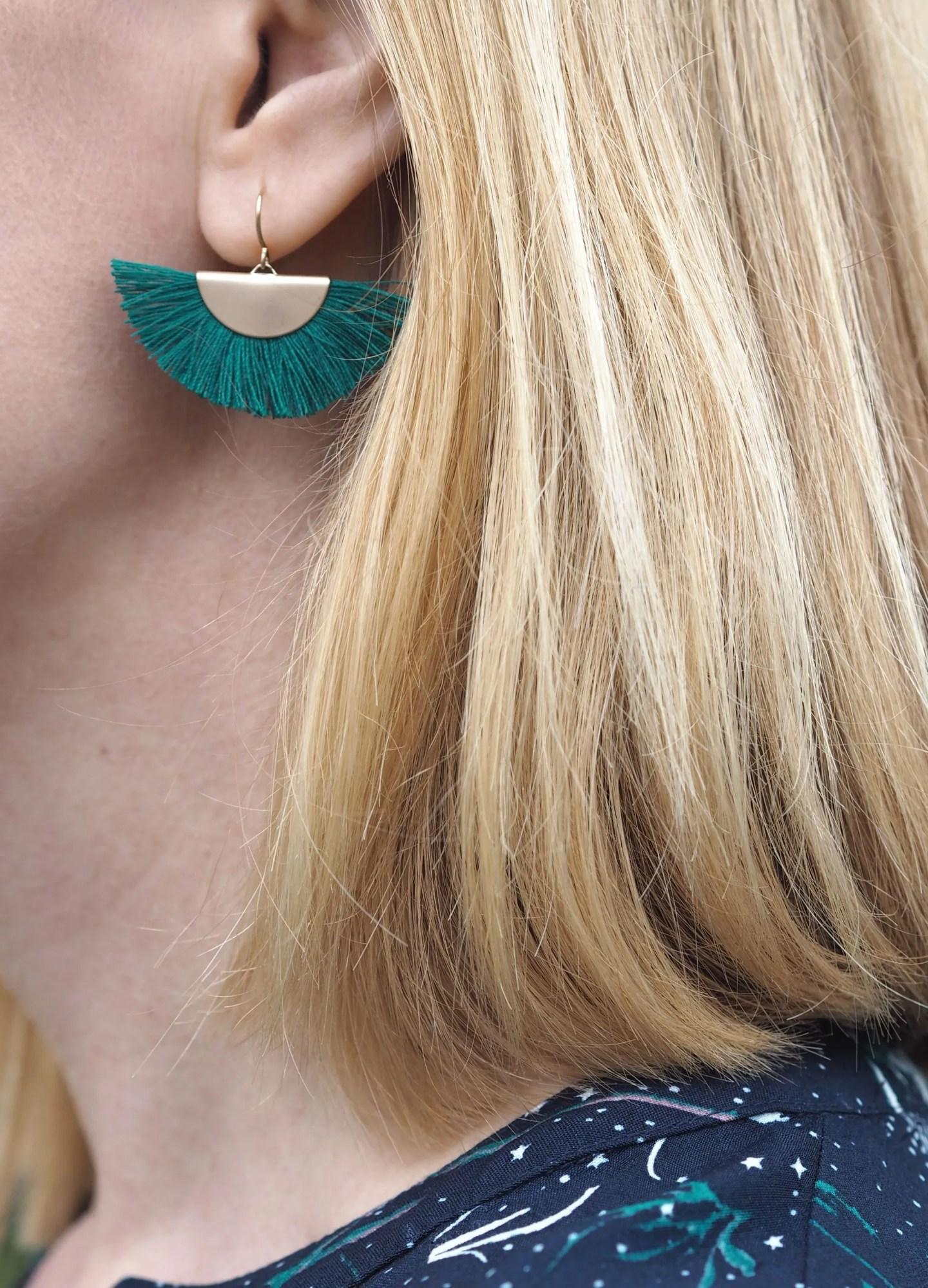 what lizzy loves green tassel earrings